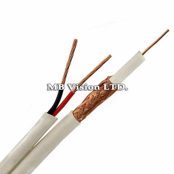 Комбиниран кабел за видеонаблюдение RG59 + 2x0.75