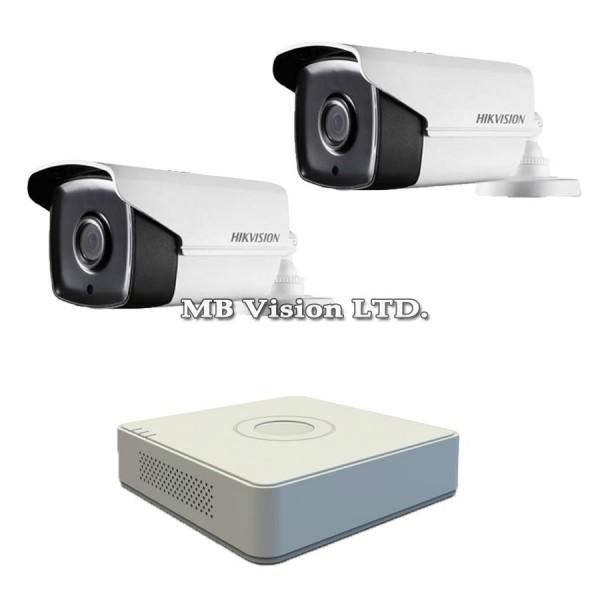 FullHD комплект с 2 камери, IR 80m + 4-канален Turbo HD DVR Hikvision