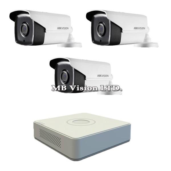 Full HD комплект с 3 камери и 4-канален Turbo HD DVR Hikvision