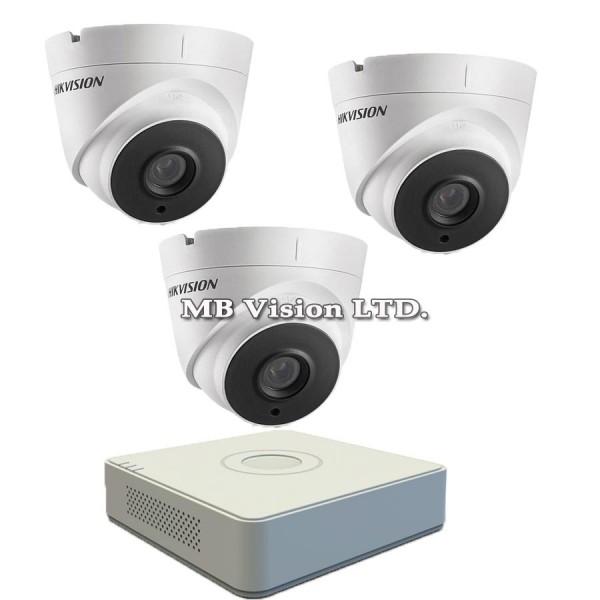 FullHD комплект с 3 камери и DVR Hikvision