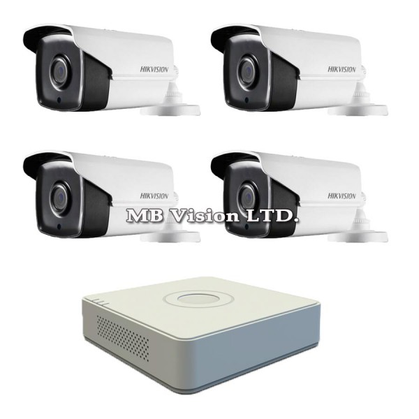 Готов Full HD комплект с 4 камери, IR 80M и DVR Hikvision