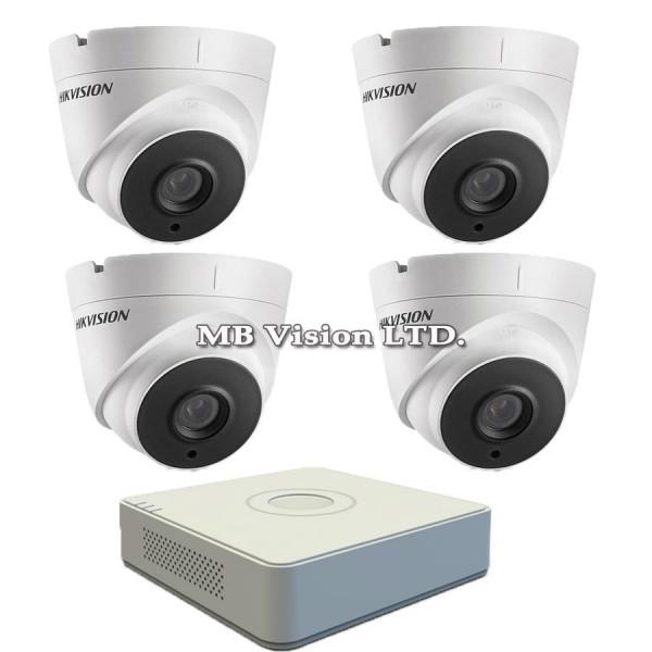 FullHD комплект с 4 камери + 4-CH TurboHD DVR Hikvision