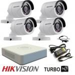 HD-TVI комплект за видеонаблюдение с 4 камери Hikvision