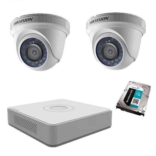 Комплект с 2 HD вътрешни камери, DVR + 1TB HDD