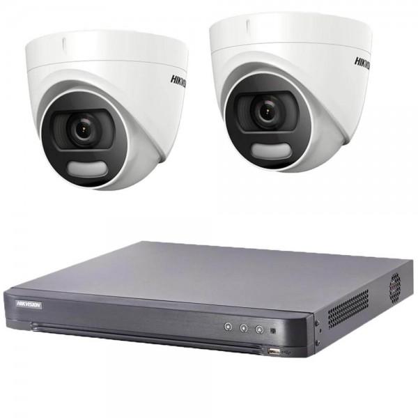 Комплект  2 камери 2MP, ColorVu + DVR Hikvision