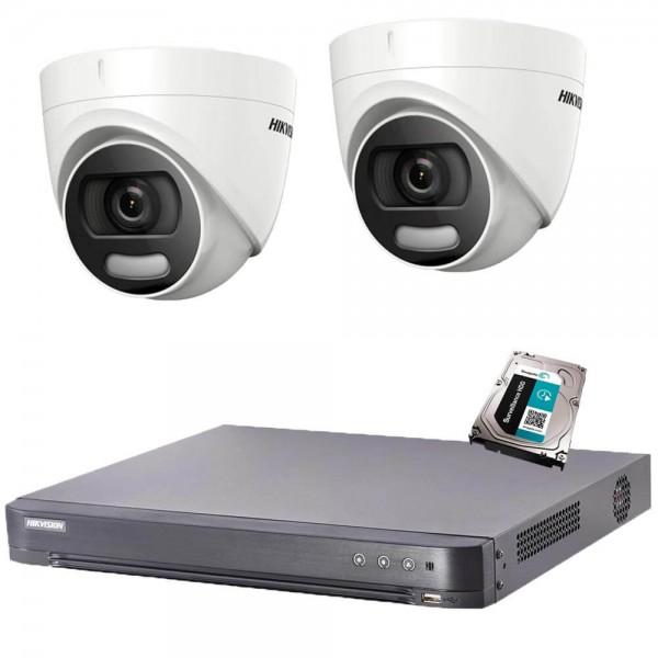 Комплект  2 камери 2MP, ColorVu, DVR Hikvision + хард диск