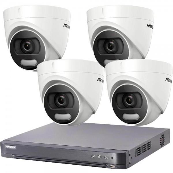 Комплект  4 камери 2MP, ColorVu + DVR Hikvision