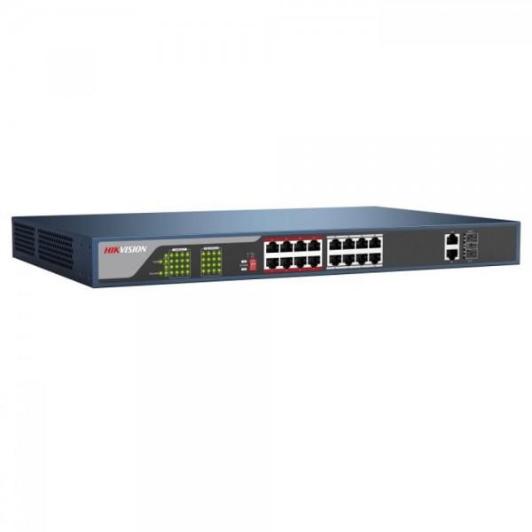 Hikvision DS-3E0318P-E, 18-портов суич, 16 PoE канала