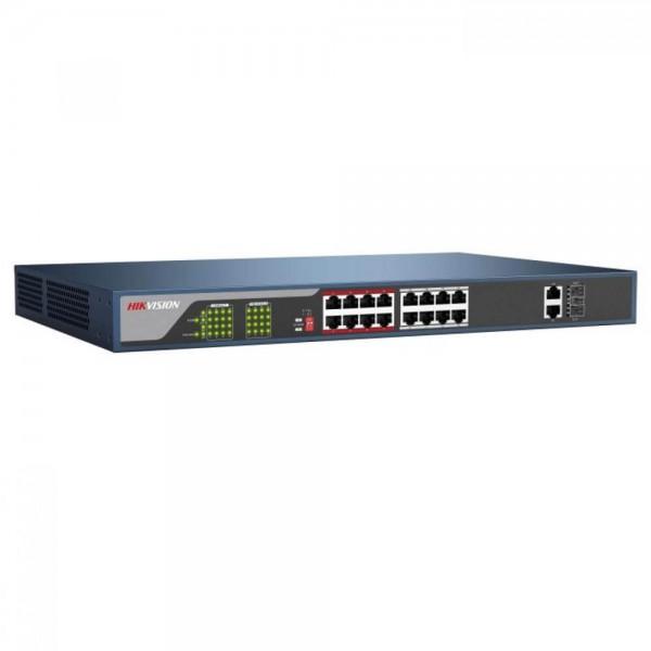 Hikvision DS-3E0318P-E(B), 18-портов суич, 16 PoE канала