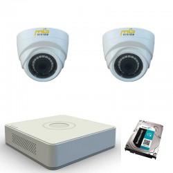 Комплект с 2 HD вътрешни камери + HD ДВР рекордер + HDD