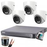 Пълен комплект  4 камери 2MP, ColorVu + DVR Hikvision и HDD