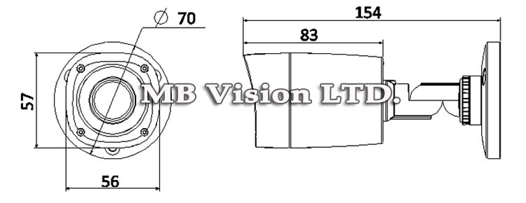 1MP HD-CVI камера Dahua, IR до 15м - HAC-HFW100R - размер