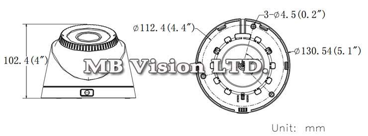 Размер на HD-TVI куполна камера Hikvision DS-2CE56C2T-VFIR3