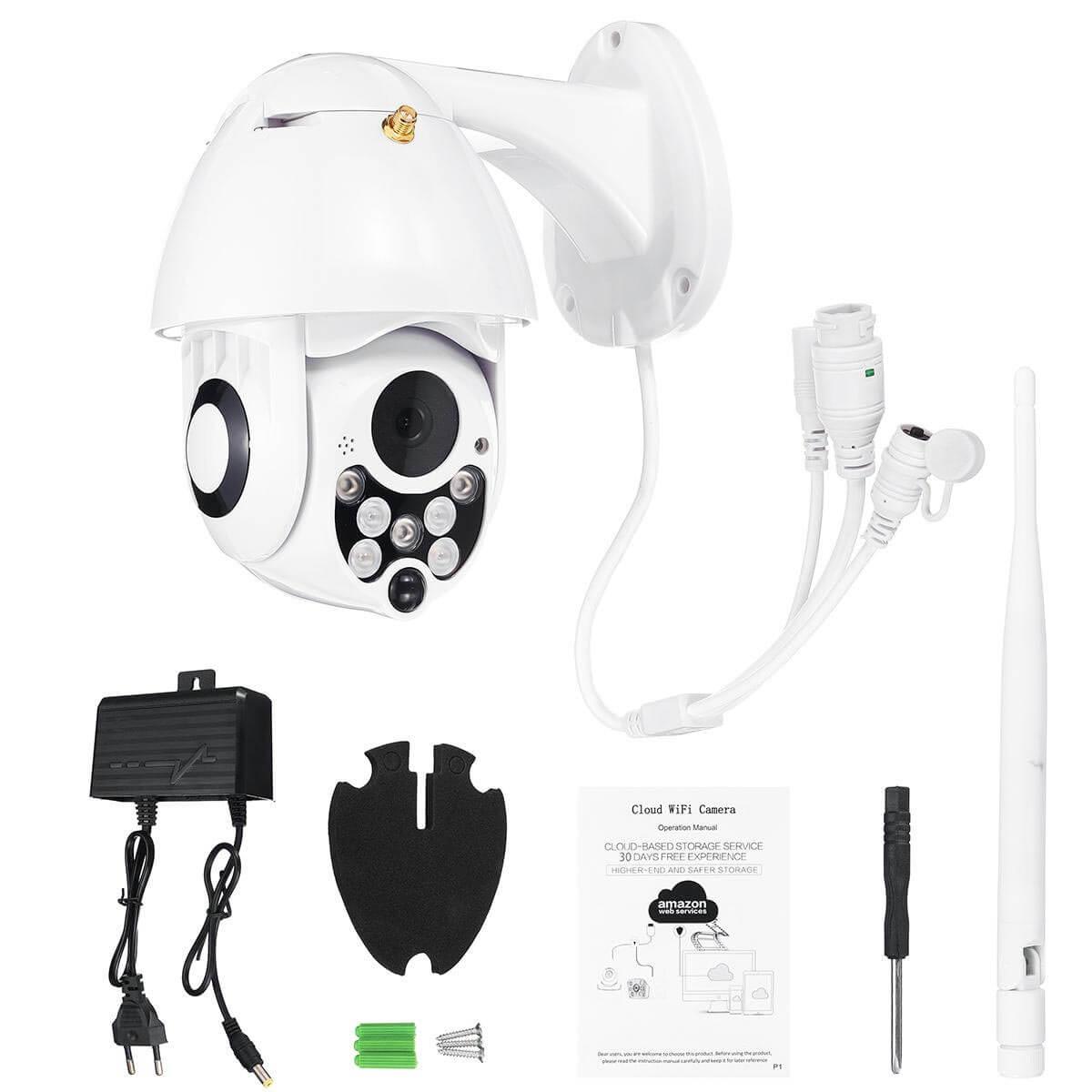 Какво включва комплекта на Wi-Fi 2MP IP PTZ камера?